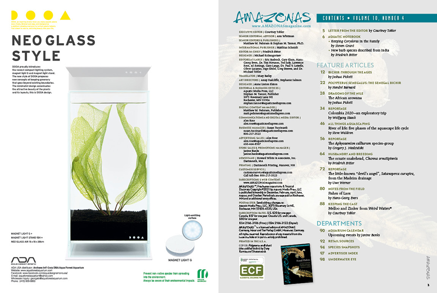 The Table of Contents for the July/August 2021 issue of AMAZONAS Magazine. You can view this TOC online!