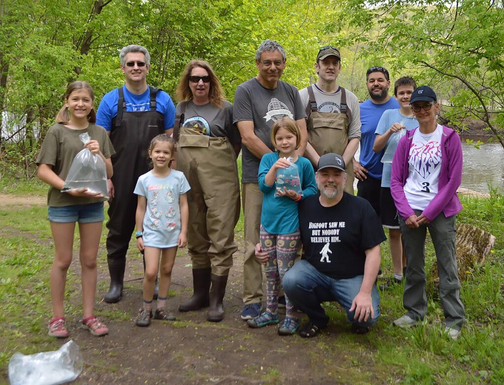 Some of the aquarists who participated in the successful May 15th Darter Hunt. Darter hunt organizer Jenny Kruckenberg is center-left, with fellow NANFA member and organizer Konrad P. Schmidt center-right. Audrey Pedersen, and author Matt Pedersen, foreground center-right.