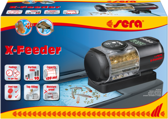 Packaging for sera's new X-Feeder, an automatic fish food dispenser for all types of aquariums.