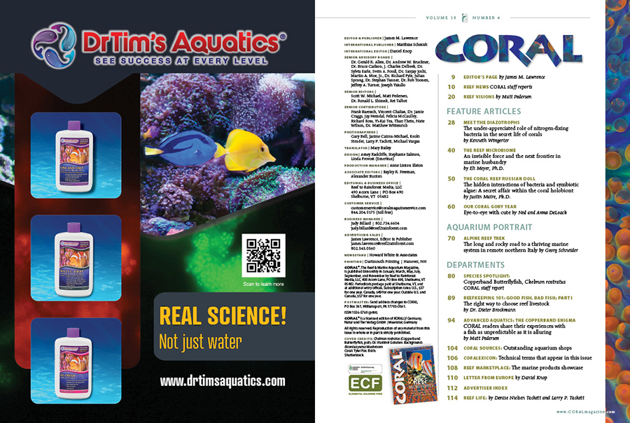 Table of Contents for the July/August 2021 issue of CORAL Magazine. You can view this TOC online.