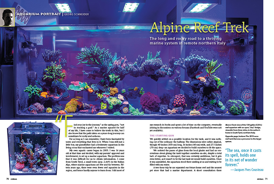 """""""'Find your joy in the journey,' as the saying goes, 'not in reaching a goal.' As a marine aquarist for half of my life, I have come to believe the truth in this, but I also know that the path taken on a years-long journey can sometimes be rocky and arduous."""" - Georg Schneider, introducing his Aquarium Portrait."""