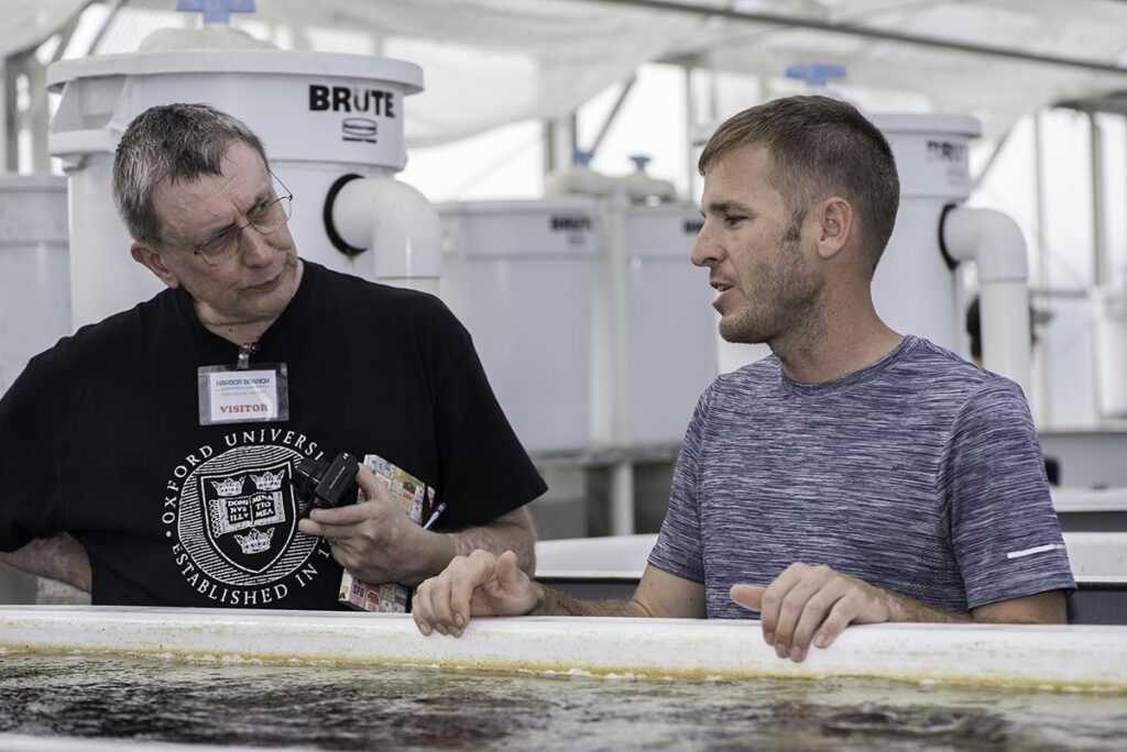 """""""Captive breeding is an important and growing part of the marine ornamental industry, albeit not in any way a fix-all for the challenges we are up against,"""" notes Fosså, reflecting on a recent tour of ORA in Florida with ORA president Dustin Dorton (at right)."""