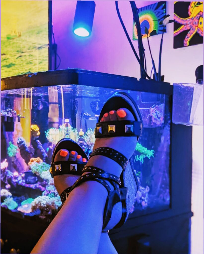 @fishanista shows off her studded platform espadrilles and UV reactive nail polish in front of her mixed reef tank.