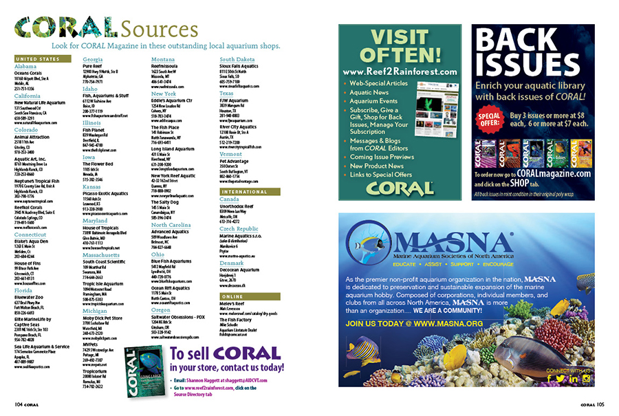 Looking for CORAL? Find current and hard-to-find back issues from these destination independent aquarium retailers! You can find our current sources in each issue, as well as online!