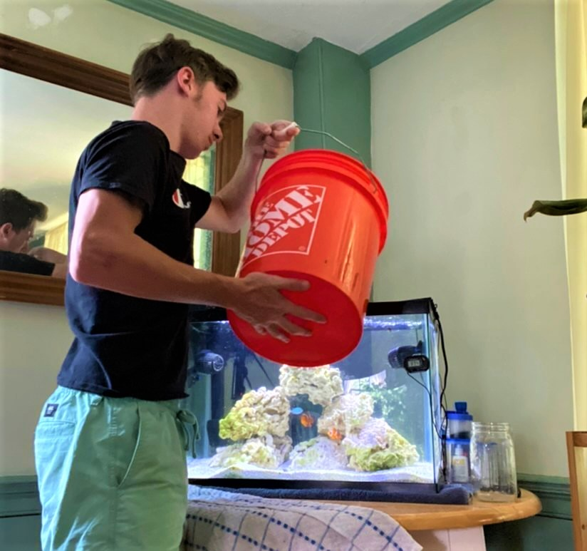 MSMHS student Reily Socha conducts a water change on his home aquarium.