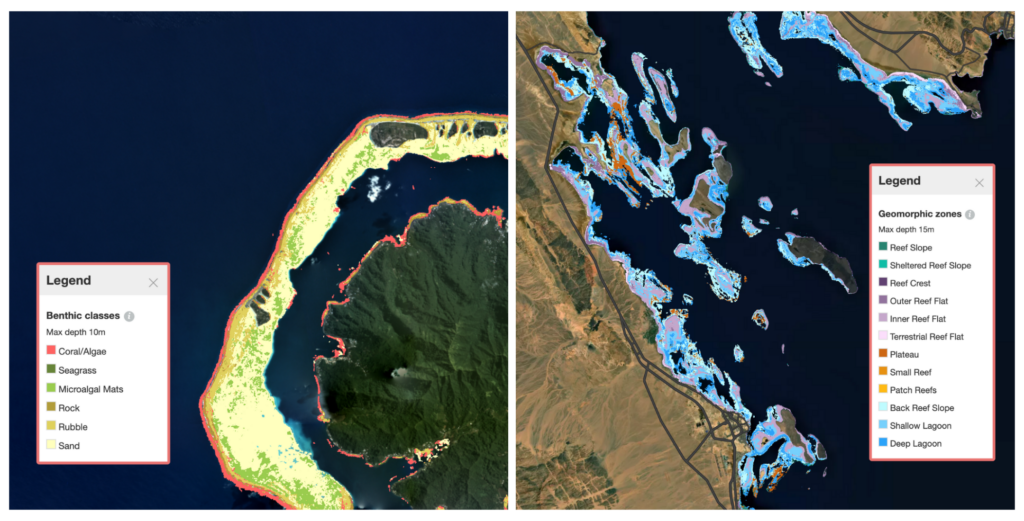 Allen Coral Atlas Habitat Maps (Left:Benthic Map of Central South Pacific, Right:Geomorphic Map of Red Sea)