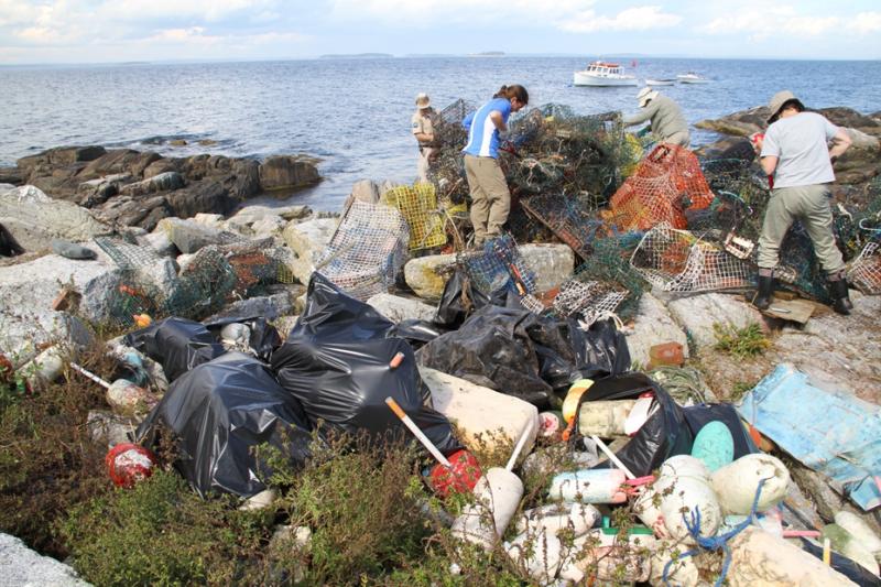 Plastic bags, fishing traps, buoys, and other debris on a New England shoreline (Credit: National Audubon Society Seabird Restoration Program).